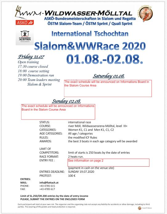 International Tschochtan Slalom & WWRace 2020  01.08-02.08.2020